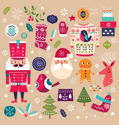 Christmas collection with decorative elements vector
