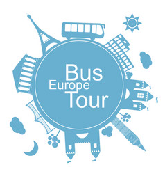 europe bus tours design icon vector image