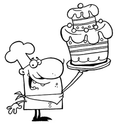 Cartoon chef with cake vector image