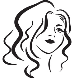 Monochromatic face of beautiful woman vector