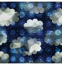 Winter snowfall pattern on night sky background vector