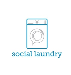 social laundry concept with washing machine vector image