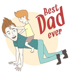 Son riding on his fathers back hand drawn style vector