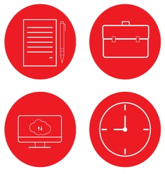 Set of office icons diplomat paper computer clock vector