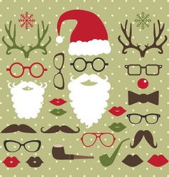 Christmas photo booth set vector