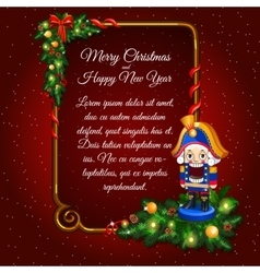 Festive card with soldier and frame for text vector