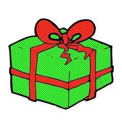 Comic cartoon christmas present vector
