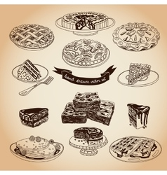 Collection of pie cakes and sweets icons vector