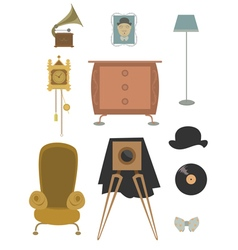 Vintage retro old things collection vector