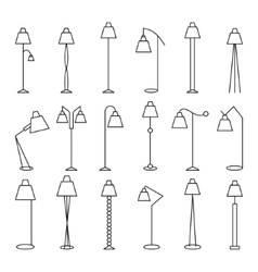 Outline floor lamp set vector
