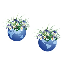 Globe and flowers vector