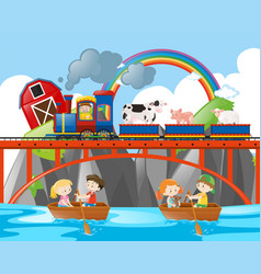 animals riding on train and kids rowing boats vector image