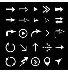 Arrows white signs isolated vector image vector image