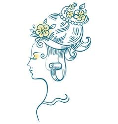 beautiful woman profile vector image vector image