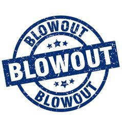 Blowout blue round grunge stamp vector