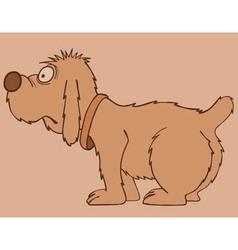 Cartoon shaggy dog standing sideways vector