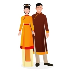 Chinese family chinese man and woman couple in vector