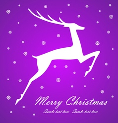 Christmas deer on violet background vector image