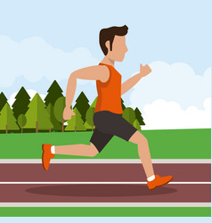 Colorful background with male athlete running in vector