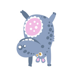 Cute cartoon hippo character standing upside down vector