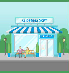 facade of supermarket building 24 hour front vector image