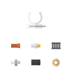 flat icon plumbing set of heater roll connector vector image vector image