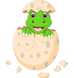 Funny baby dinosour egg hatch smile vector