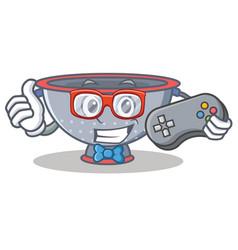 Gamer colander utensil character cartoon vector