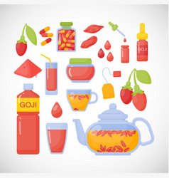 goji berries flat icons set vector image vector image