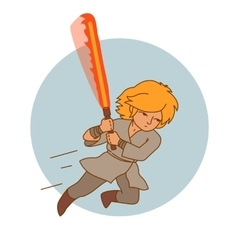 Jumping warrior with fire sword vector