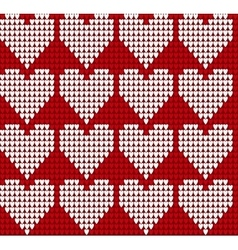 Knitted texture seamless pattern with hearts vector