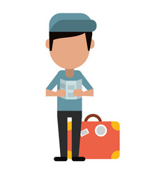 Man with travel bag and map vector
