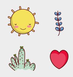 Nature elements doodles cartoons vector