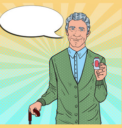 senior man with medications health care pop art vector image