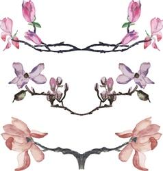 Set of watercolor magnolia borders vector