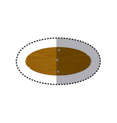 Sticker oval piece wooden board with cloves vector