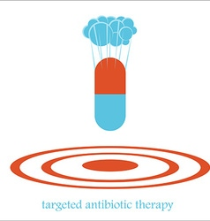 Targeted antibiotic therapy bomb concept vector