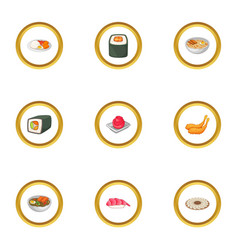 Various types of sushi icons set cartoon style vector