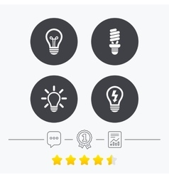 Light lamp icons energy saving symbols vector