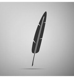 Feather pen flat icon on grey background adobe vector