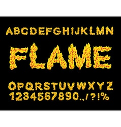 Flame alphabet fire font fiery letters burning abc vector