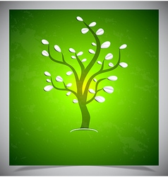 Abstract tree on green background vector