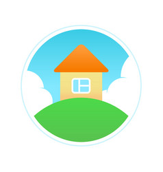Eco house in clean ecology place vector