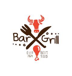 Grill bar best food estd 1969 logo template hand vector