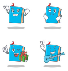 Set of blue book character with successful vector