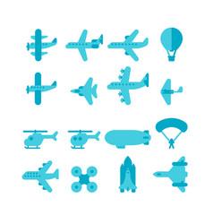 Flat design plane set vector