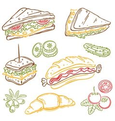 Sandwiches fast food snack vector image