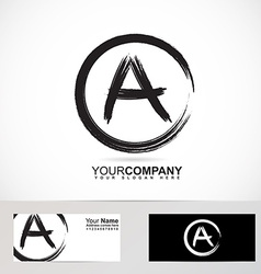Grunge letter a logo black and white vector