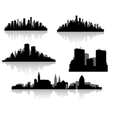 City silhouettes set vector