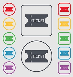 Ticket icon sign symbols on the round and square vector